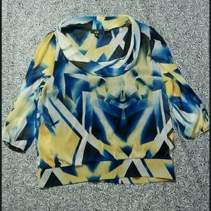 AGB blouse size XL multicolor 3/4 sleeve blur